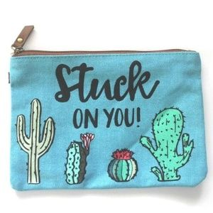 "Handbags - Cactus Blue Canvas ""Stuck On You"" Makeup bag"